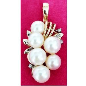 S.J. Lau 14 karat Pearls & Diamonds grape pendant